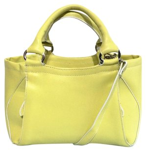 Currency Celine Crossbody Coated Leather Satchel in Yellow and white