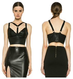 Cushnie et Ochs Leather Leather Bustier Crop Leather Crop Top Black