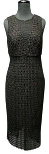 Cynthia Rowley Sleeveless Solid Below Knee Combo Lace 5339a Dress