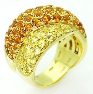 Damiani's Designer Damiani 18k Yellow Gold Sapphire Crossover Ring 17mm Wide R261