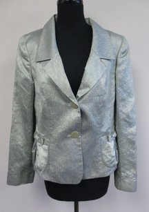 Dana Buchman Green Pink Striped Lined Silk Blend Two Button T224 Multi-Color Jacket
