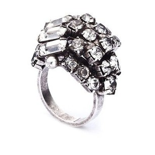 DANNIJO Dannijo Eden Antique Silver Crystal Cluster Bubble Ring