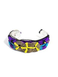 DANNIJO Dannijo Multicolor Tulum Coin Embellished Cuff Bracelet Red Yellow