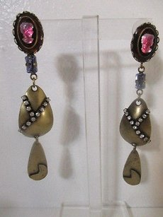 DANNIJO Dannijo Pink Cameo-crystal Antique Brass Drop Dangle Earrings
