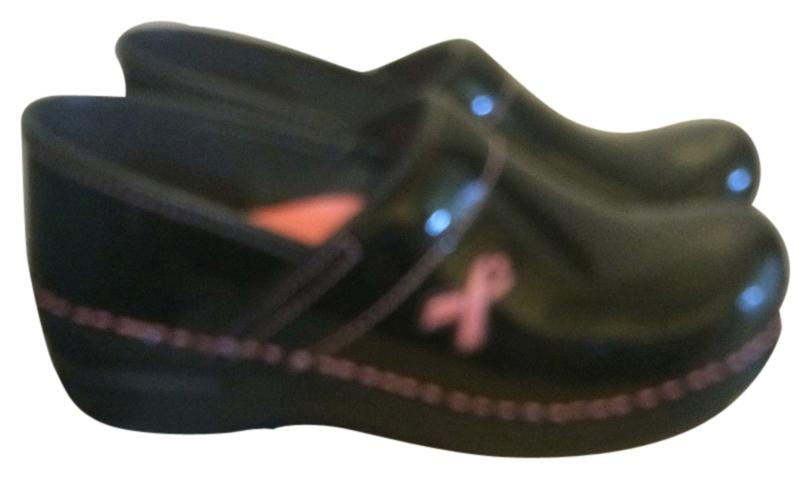 0cae6f583f8c Dansko Black with with with Pink Breast Cancer Symbol Pro Mules Slides Size  US 7.5