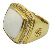 david DAVID YURMAN 18k Gold ALBION Ring with White Agate & Diamonds Sz 6