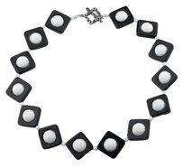David's Bridal Faceted Black Onyx and White Agate Sterling Silver Handmade Statement Necklace