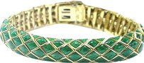 David Webb David Webb 18kt Green Enamel Yellow Gold Bracelet 7