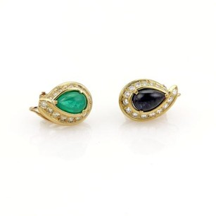 David Webb David Webb 3.90ct Emerald Sapphire Diamond 18k Ygold Post Clip Earrings