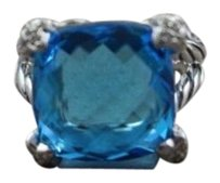 David Yurman David Yurman Blue Topaz Cushion On Point 15mm Ring