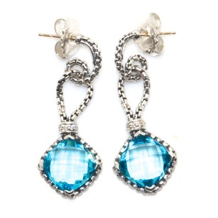 David Yurman Accessories,womens,dy_earrings_cushiononpoint_bluetopaz