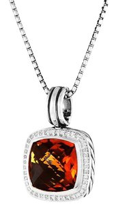 David Yurman Albion Pendant Necklace with Citrine and Diamonds Hinged Cable Bale
