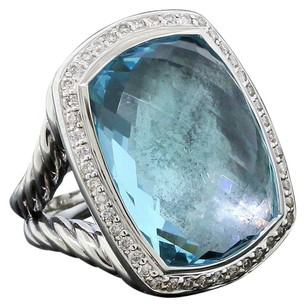 David Yurman Albion Ring with Blue Topaz and Diamonds