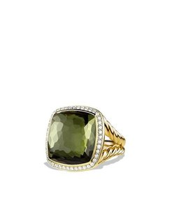 David Yurman Albion Ring with Green Orchid and Diamonds in 18K Gold_size 7.25