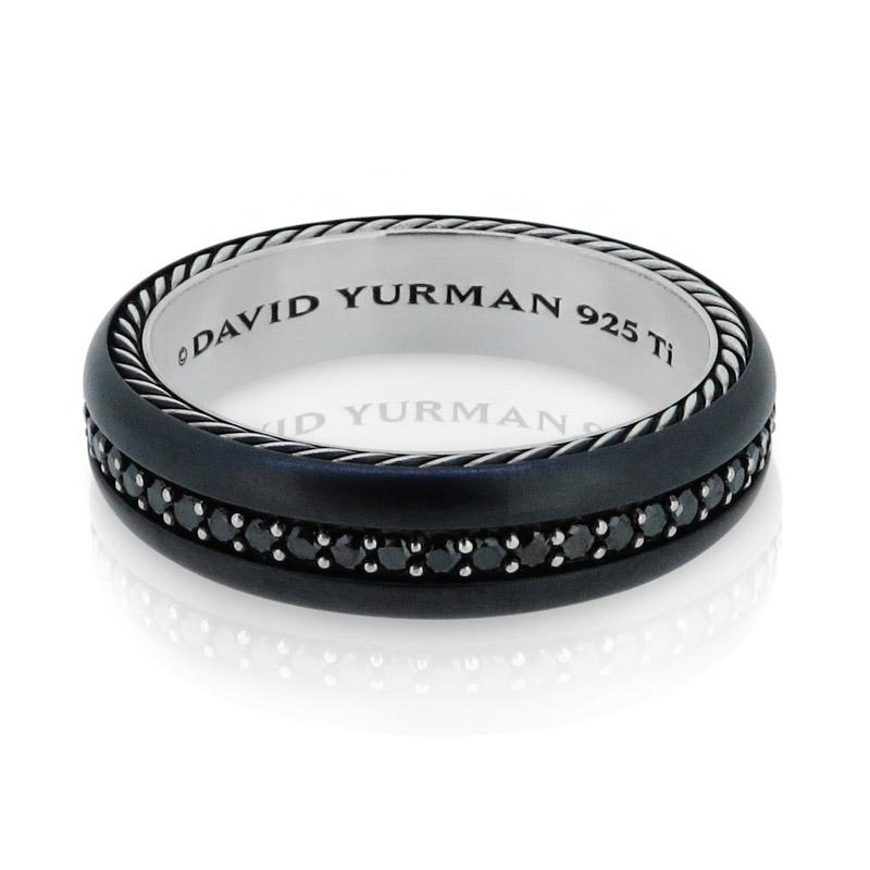 David Yurman David Yurman Black Diamonds Titanium Eternity Narrow Band Mens  Ring ...