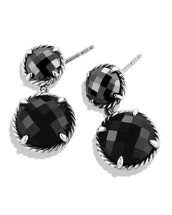 David Yurman Chatelaine Double-Drop Earrings with Black Onyx and Hematine
