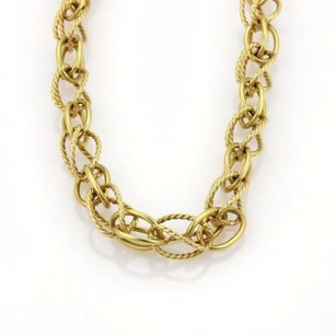 David Yurman David Yurman 18k Yellow Gold Wire Design Loop Link Chain Necklace