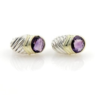 David Yurman David Yurman 6ct Amethyst 925 Silver 14k Yellow Gold Shrimp Earrings