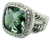 David Yurman David Yurman 925 Sterling Silver Albion 14mm Prasiolite And Diamond Ring R441