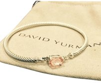 David Yurman David Yurman 925 Sterling Silver Morganite Diamond Petite Wheaton Bracelet