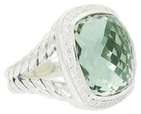 David Yurman David Yurman Albion Sterling Silver 0.37 Tcw Diamond 17mm Prasiolite Ring R618