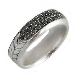 David Yurman David Yurman Chevron Pav Band Ring With Black Diamonds