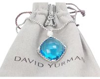 David Yurman David Yurman Cushion On Point Blue Topaz Necklace