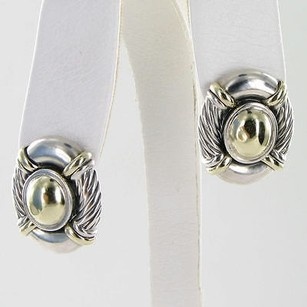 David Yurman David Yurman Earrings Domed Cable Buttons 14k Yellow Gold Sterling Silver Estate