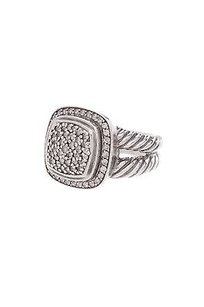 David Yurman David Yurman Sterling Silver 11mm Pave Diamond Albion Ring Size 6.5