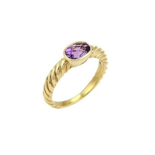 David Yurman David Yurman Amethyst Cable Ring In 18k Yellow Gold -