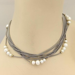 David Yurman David Yurman Pearls Multi Strand Sterling Silver 18k Gold Necklace
