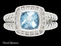 David Yurman David Yurman Petite Albion Silver Blue Topaz 0.17 Tcw Diamond Ring R731