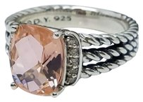 David Yurman David Yurman Petite Wheaton Ring with Morganite and Diamonds