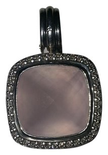 David Yurman David Yurman Sterling Silver 14mm Rose Quartz Diamond Albion Pendant Enhancer