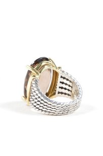 David Yurman David Yurman Sterling Silver 18k Gold Smokey Quartz Diamond Trim Ring