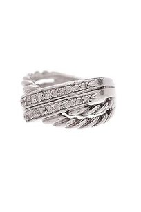 David Yurman David Yurman Sterling Silver Diamond Crossover Ring Size 5.5