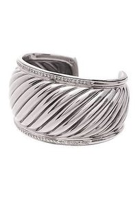 David Yurman David Yurman Sterling Silver Diamond Sculpted Cable Cuff Bracelet