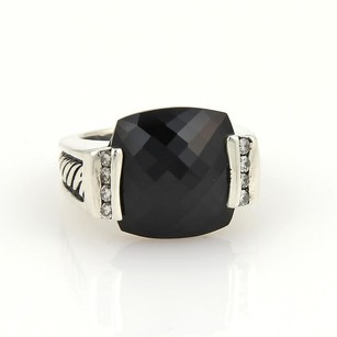David Yurman David Yurman Sterling Silver Diamonds Cushion Cut Onyx Ring Size 6.25