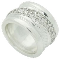 David Yurman David Yurman Wide Sculpted Cable 925 Sterling Silver Pave Diamond Ring R661