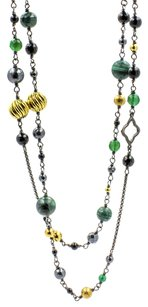 David Yurman Green Bijoux Chain and Bead Necklace Sterling Silver with Gold