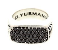 David Yurman Mens David Yurman Chevron Silver Black Diamond Ring