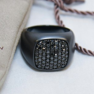 David Yurman Pav Signet Ring with Black Diamonds and Black Titanium