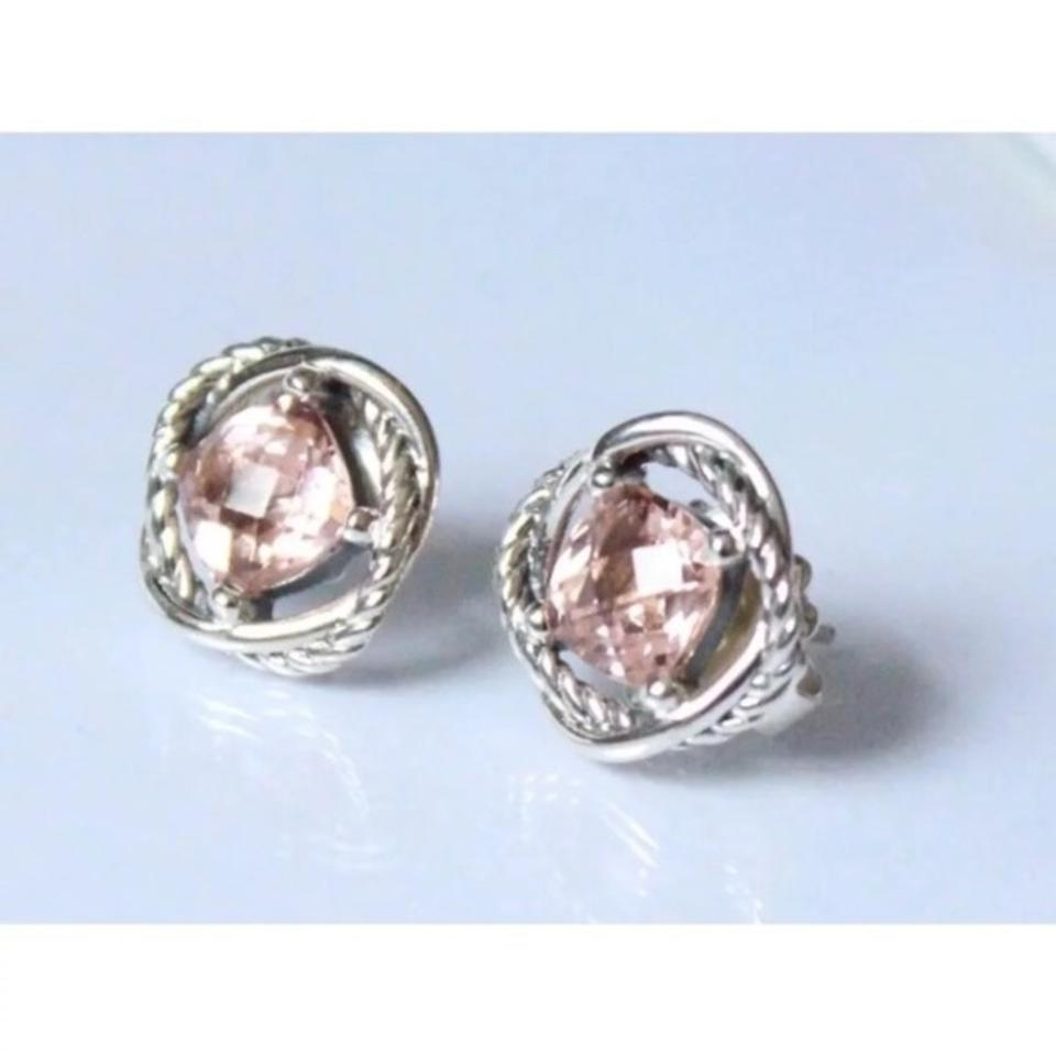 David Yurman Dy 7x7mm Morganite Earrings