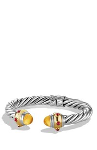 David Yurman Renaissance Bracelet with Gold, Cabochon Citrine and Ruby (Medium)