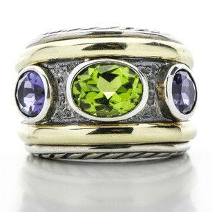 David Yurman David Yurman Renaissance Wide Band with Peridot, Amethyst and 14k Gold
