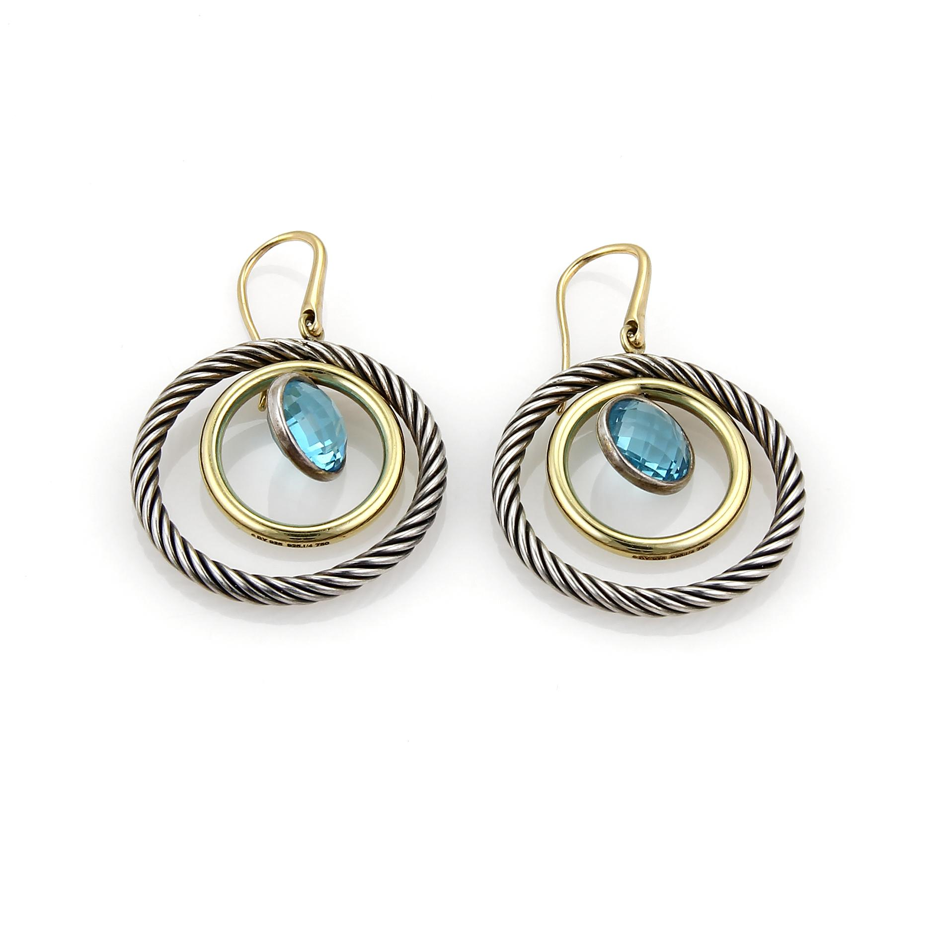 David Yurman 18k Renaissance Blue Topaz Drop Earrings 7ioXROWuc