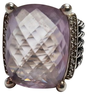 David Yurman Sterling Silver Diamond Morganite Wheaton Ring
