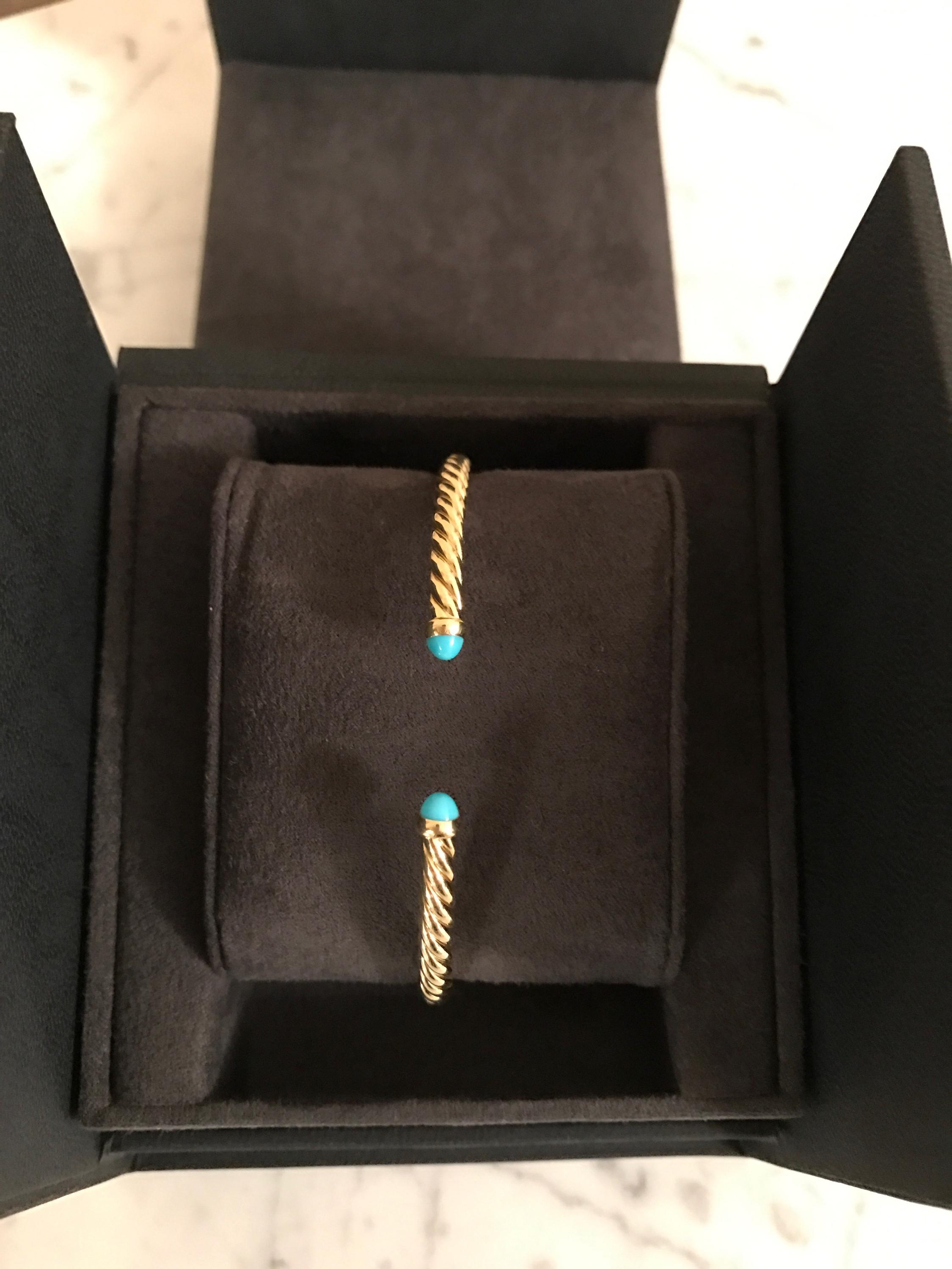 David Yurman Turquoise 18k Yellow Gold and Cable Bracelet Tradesy