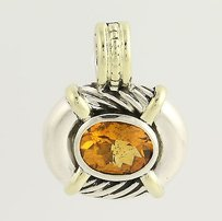 David Yurman Yurman Citrine Cable Necklace Enhancer Pendant - 14k Gold Sterling Silver