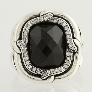 David Yurman Yurman Onyx Diamond Labyrinth Ring - Sterling Silver 12 Genuine .20ctw